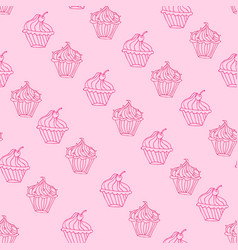 lovely cupcake dessert seamless background vector image