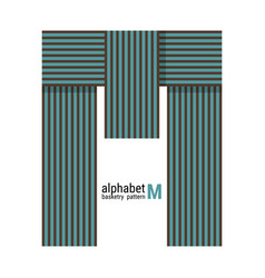 M - unique alphabet design with basketry pattern vector
