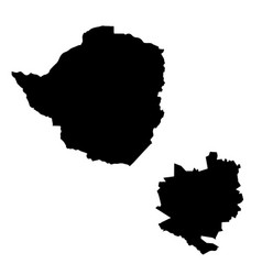 Map zimbabwe and harare country and capital vector