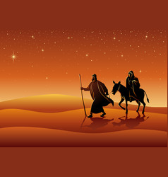 mary and joseph journey to bethlehem vector image