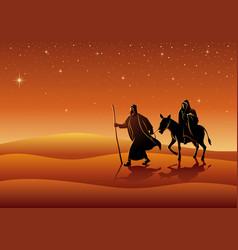 Mary and joseph journey to bethlehem vector