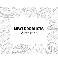 meat products premium quality banner template vector image