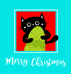 merry christmas black cat holding fir tree kitty vector image