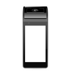 Mobile payment terminal mockup - top view vector