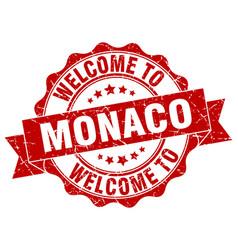 Monaco round ribbon seal vector