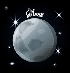 Moon natural satellite of the earth vector