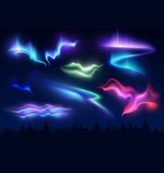 Northern lights realistic set vector