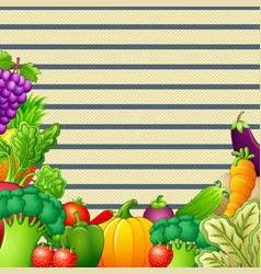 Paper design background with vegetables and fruits vector