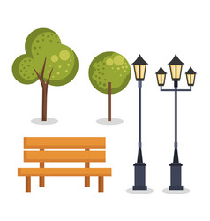 park set elements icons vector image
