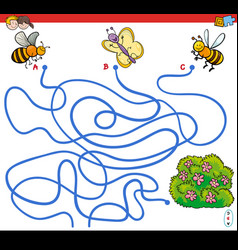 Paths maze game with insects and flowers vector
