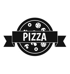 pizza label with ribbon icon simple style vector image