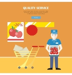 Quality Service in Supermarket Concept Banner vector