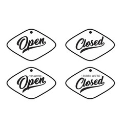 retro open and closed vector image
