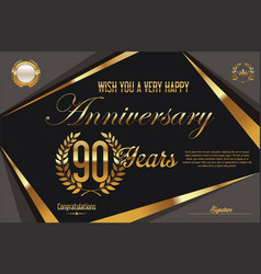 Retro vintage anniversary background 90 years vector