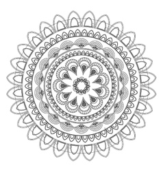 Round decorative line mandala icon vector