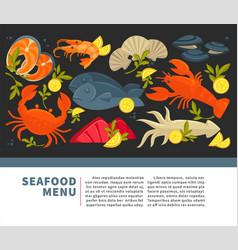 Seafood restaurant menu fresh fish vector