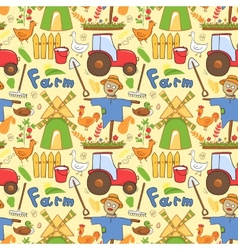seamless pattern farm elements in doodle style vector image
