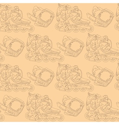 Seamless pattern with roller skates vector