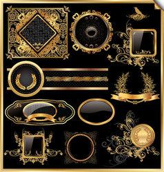 Set black gold - framed labels vector