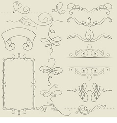 set Frames and borders Hand drawing vector image
