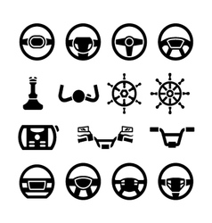 Set icons of steering wheel marine steering vector image