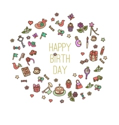 set of birthday items vector image