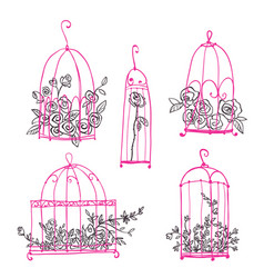 set of decorative cages with flowers line art vector image