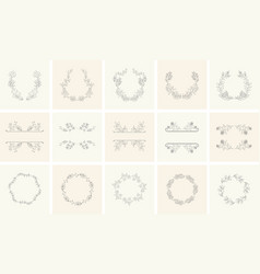 Set of floral frames and wreaths with plant vector