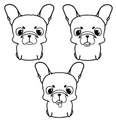 Set of french bulldog puppies Black and white vector