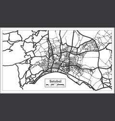 Setubal portugal city map in retro style outline vector