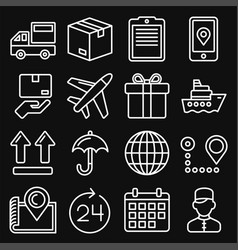 shipping and delivery icons set on black vector image