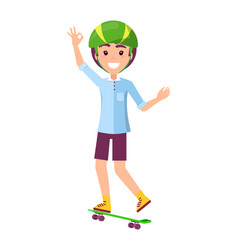 skater and hand gesture ok vector image