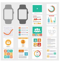 Smart watch gui design set vector