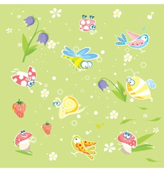 Spring green background with insects and flowers vector image