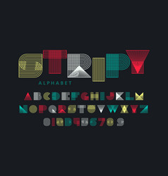 stripy font alphabet letters and numbers vector image