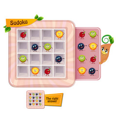 Sudoku game for children fruits vector