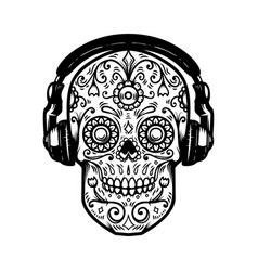 sugar skull with headphones design element for vector image