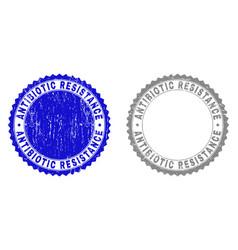 Textured antibiotic resistance scratched stamps vector