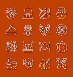 thanksgiving day thin line icon set vector image
