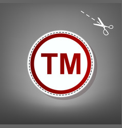 Trade mark sign red icon with for vector