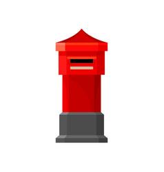 Traditional british pillar box bright red mailbox vector
