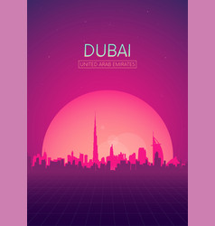 Travel poster futuristic retro skyline dubai vector