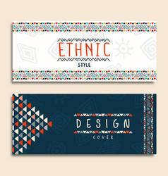 Tribal ethnic art background set vector