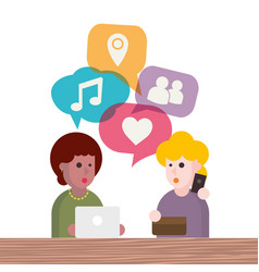 two people avatars chatting vector image