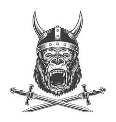 Vintage monochrome ferocious gorilla head vector