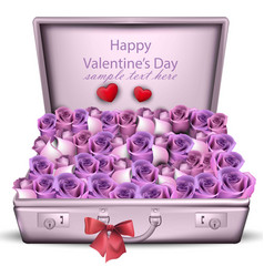 Violet roses bouquet happy valentine day vector