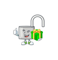 With gift silver unlock key for security private vector