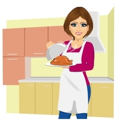 Woman cooking traditional thanksgiving turkey vector