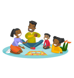 Young african-american family playing board game vector