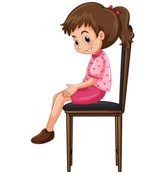 little girl sitting on big chair vector image vector image